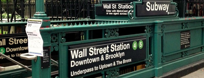MTA Subway - Wall St (4/5) is one of NYC Subways 4/5/6.