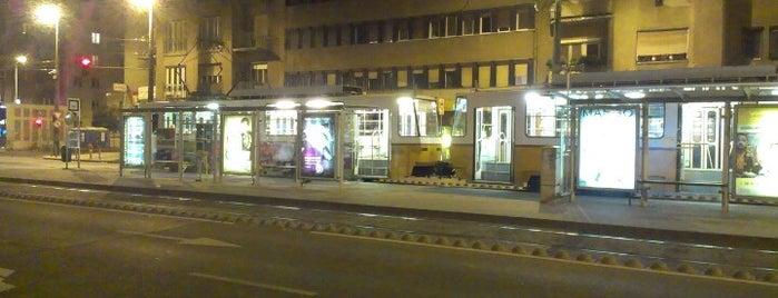 Újbuda-központ M (17, 41, 47, 47B, 48, 56) is one of Budai villamosmegállók.