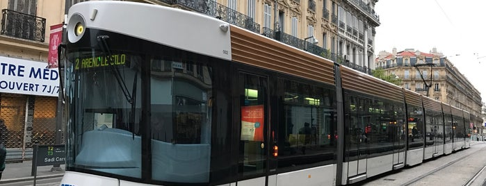 Station Sadi Carnot [T2,T3] is one of Tramway de Marseille.