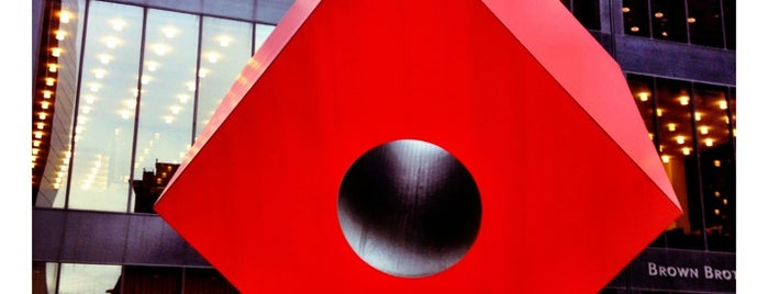 Red Cube by Isamu Noguchi is one of Iconic NYC Outdoor Art.