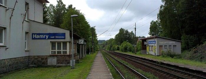 Železniční zastávka Hamry nad Sázavou is one of Železniční stanice ČR: H (3/14).