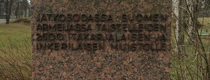 Inkeriläisten ja karjalaisten heimoveteraanien muistomerkki is one of Patsaat ja muistomerkit.