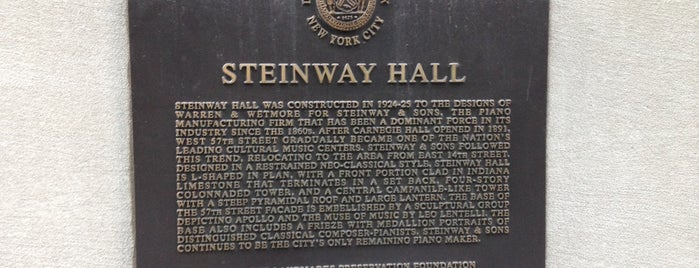 Steinway Hall is one of 2012 - New York.