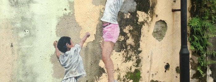 Penang Street Art : Children Playing Basketball is one of Penang Art.