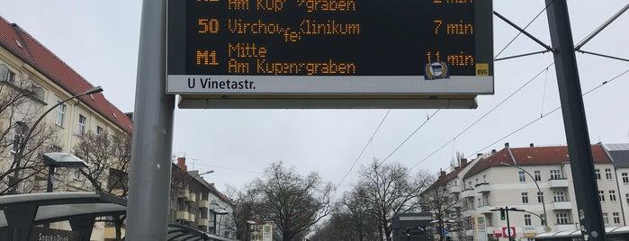 H U Vinetastraße is one of Berlin tram line 50.