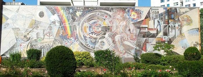 """Wandbild """"Arbeit für das Glück des Menschen"""" is one of Socialist Art and Architecture in East Berlin."""
