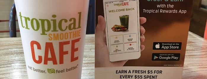 Tropical Smoothie Cafe is one of Vegetarian and Veggie Friendly.