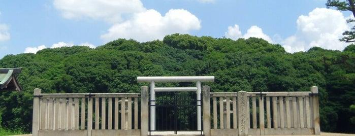 仲哀天皇 惠我長野西陵 (岡ミサンザイ古墳) is one of 天皇陵.
