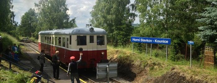 Železniční zastávka Horní Slavkov – Kounice is one of Železniční stanice ČR: H (3/14).