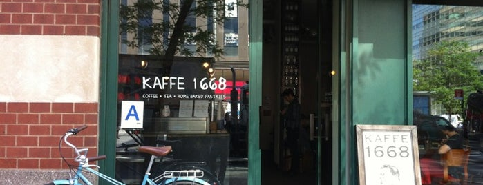 Kaffe 1668 is one of Notable Coffee Shops (NYC).