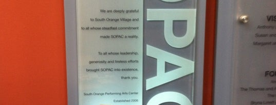 SOPAC (South Orange Performing Arts Center) is one of Kid Stuff.