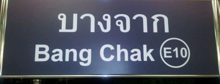 BTS Bang Chak (E10) is one of BTS - Light Green Line (Sukhumvit Line).