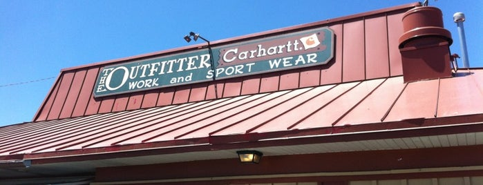 The Outfitter Work and Sport Wear is one of Used to Be a Pizza Hut.