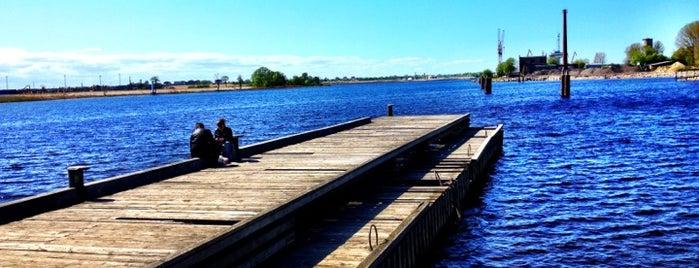 Milgravis Channel Pier is one of UltimateRiga in 128 steps.