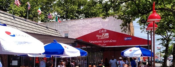 L&B Spumoni Gardens is one of NYC's Best Patios, Rooftops, and Beer Gardens.
