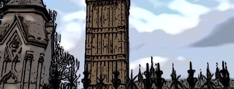 Elizabeth Tower (Big Ben) is one of Hand Drawn Map of London.