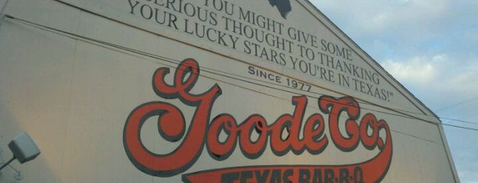 Goode Company BBQ is one of 20 favorite restaurants.