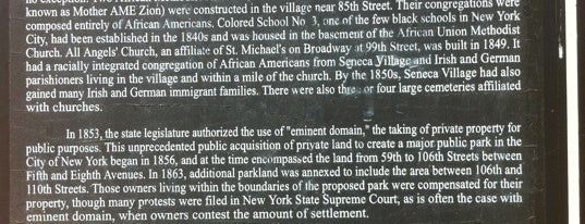 Central Park - Seneca Village is one of Park Highlights of NYC.