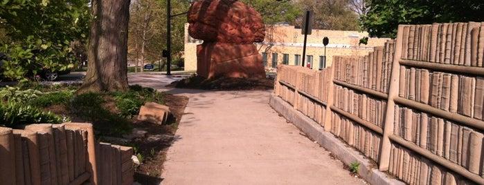 Behind the Brain Sculpture Garden is one of School.