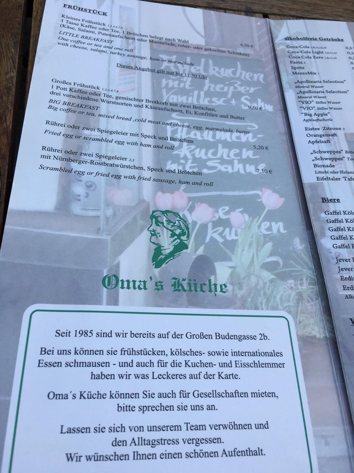 Speisekarte von Oma\'s Küche in Köln mit Preisen